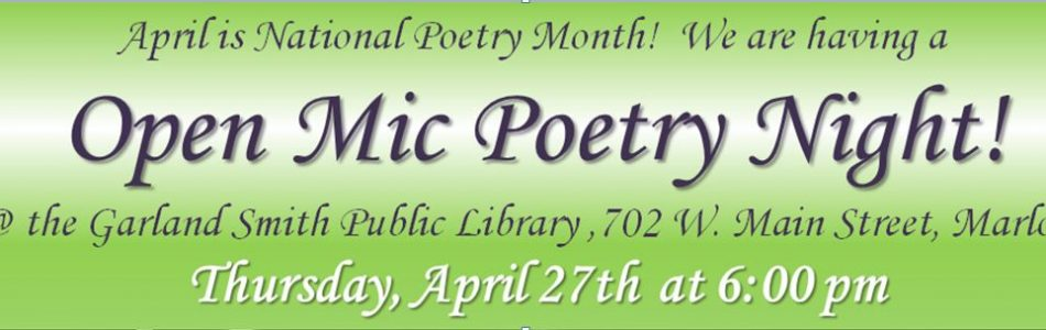 Poetry Night!  April 27th!